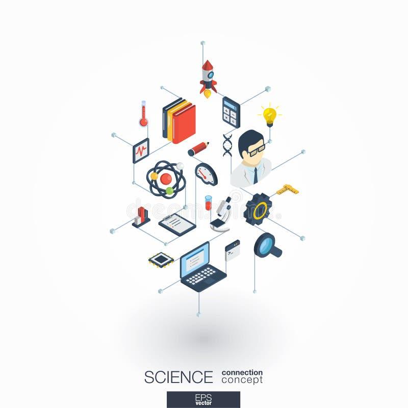 Icônes du Web 3d intégrées par Science Concept isométrique de réseau de Digital illustration stock