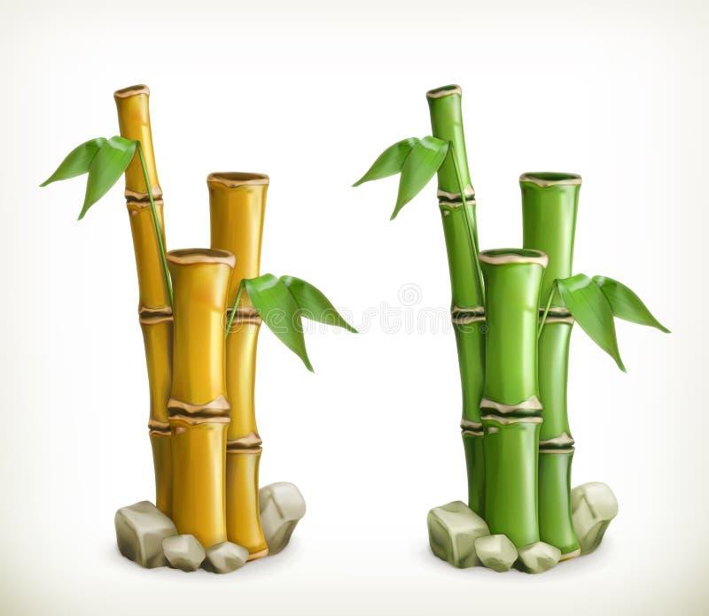 Icônes en bambou de vecteur illustration stock