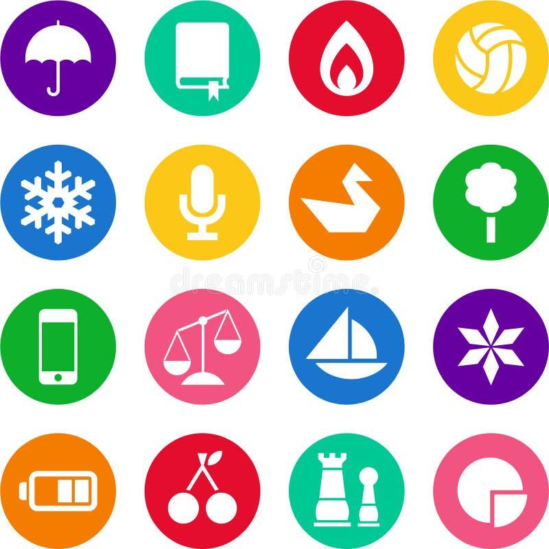 Icônes en cercles illustration stock