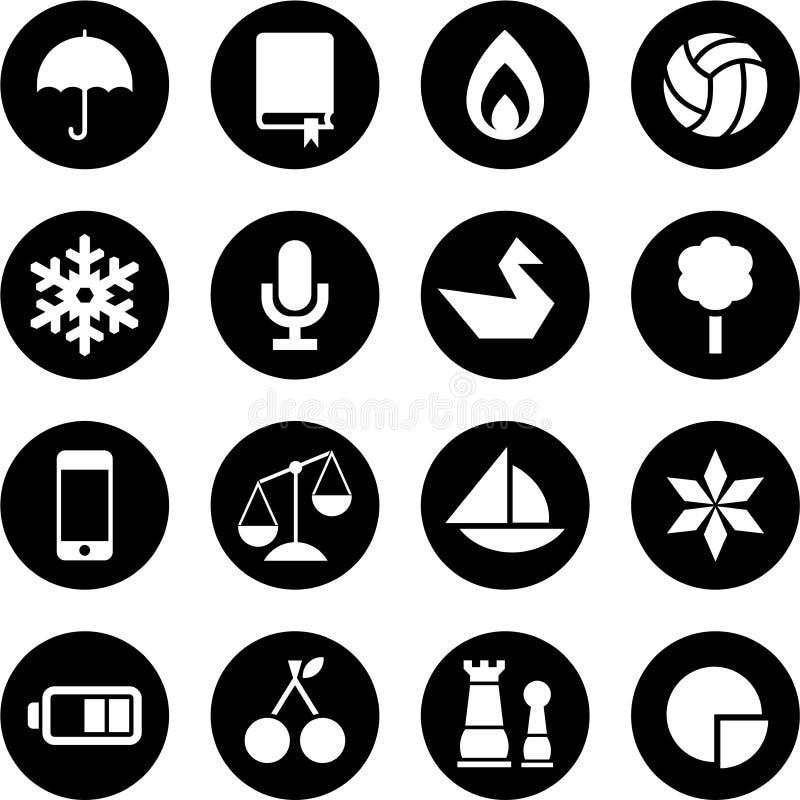 Icônes en cercles illustration libre de droits