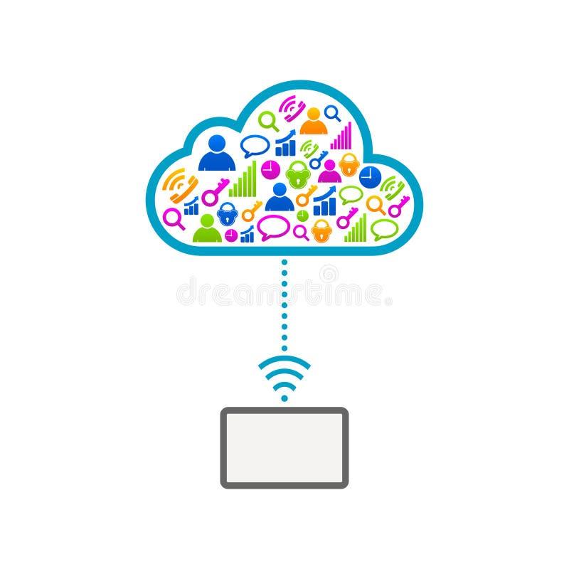Icônes en ligne électroniques de communication de nuage d'Internet illustration libre de droits