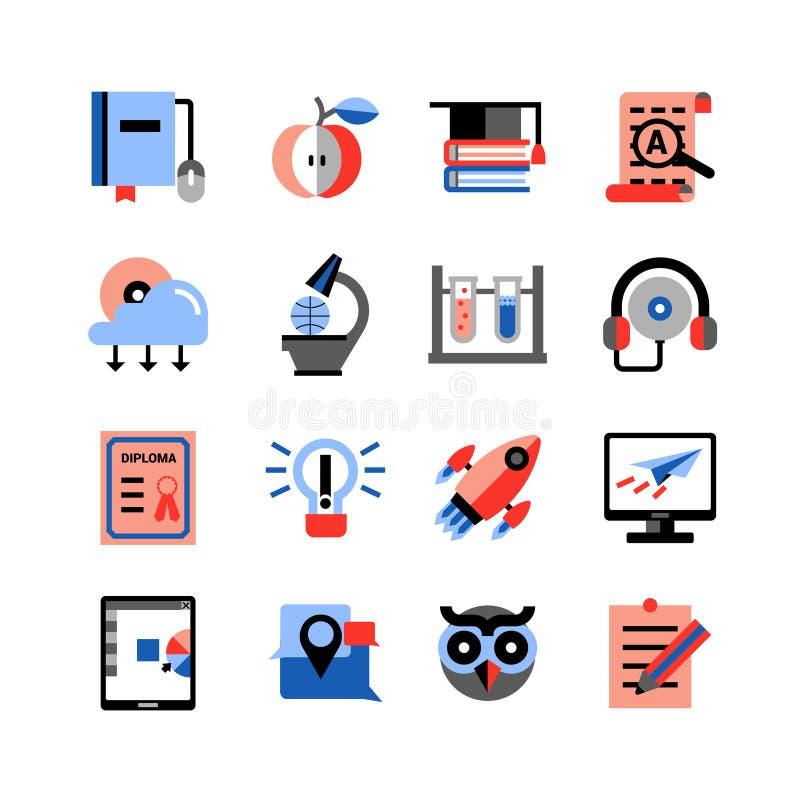 Icônes en ligne d'éducation réglées illustration de vecteur