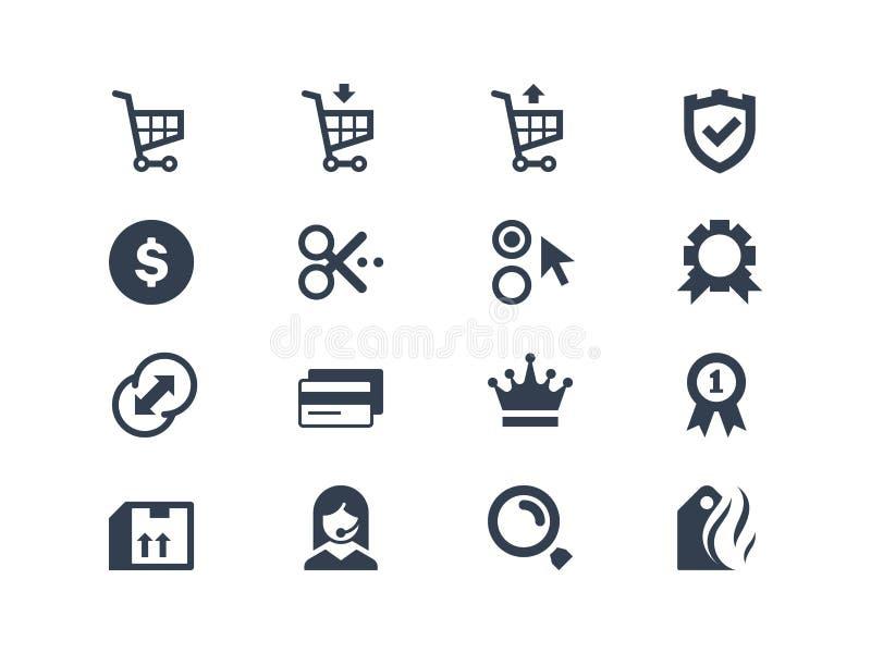 Icônes en ligne d'achats illustration libre de droits