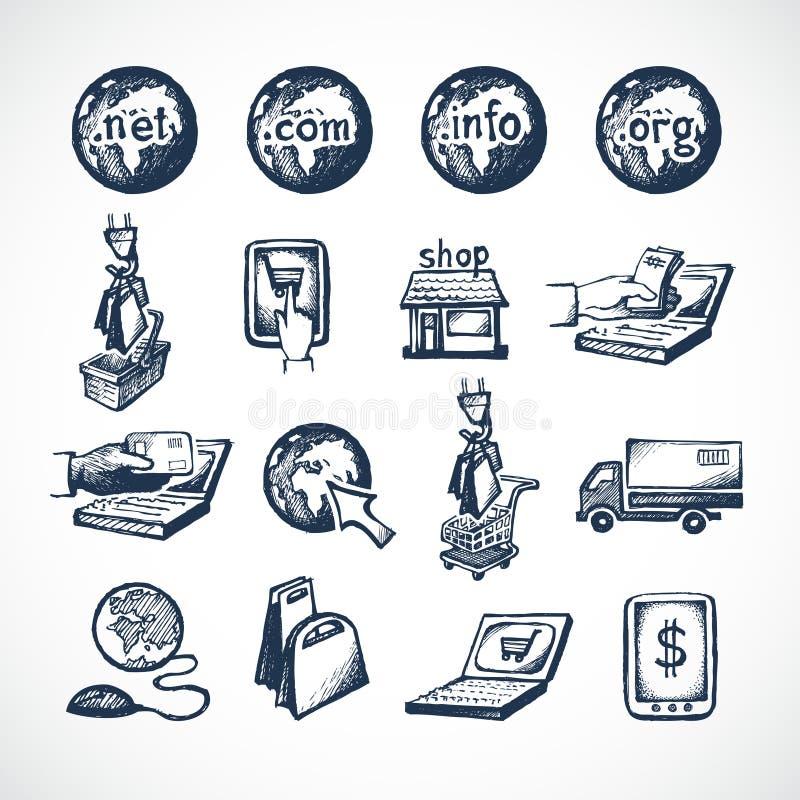 Icônes en ligne d'achats illustration stock