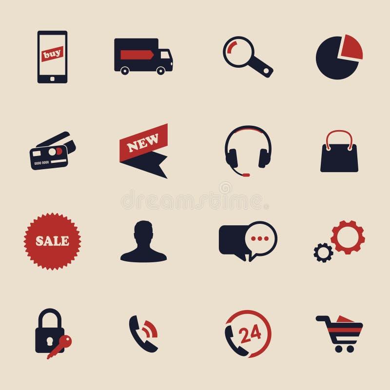 Icônes en ligne d'achats illustration de vecteur