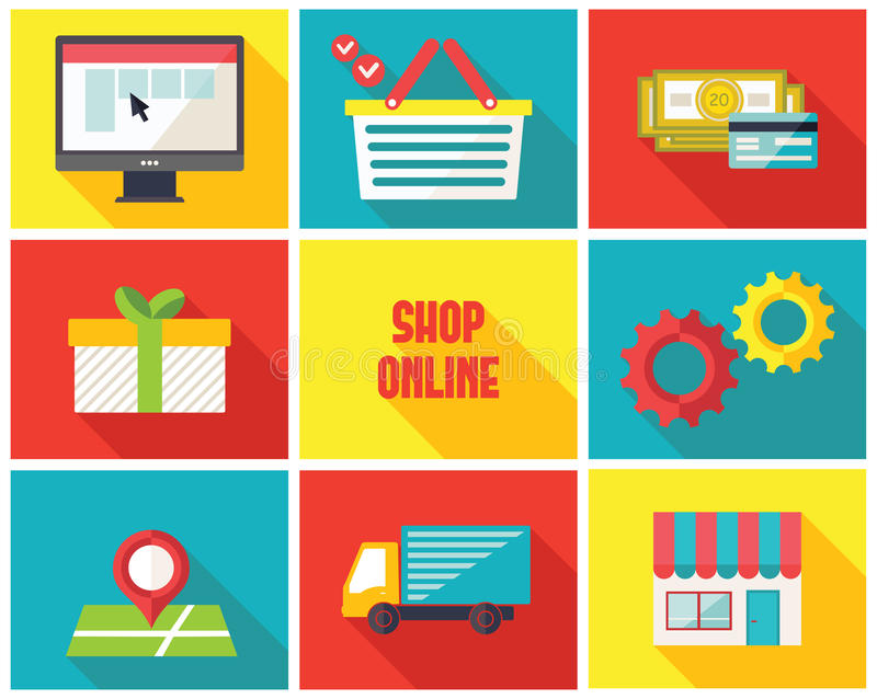 Icônes en ligne d'infographics de boutique illustration de vecteur