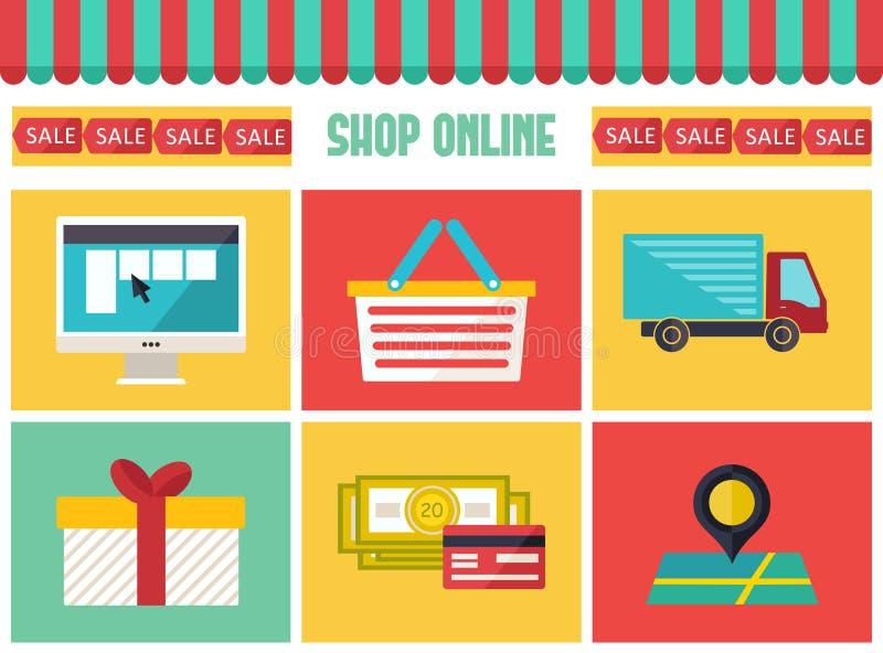 Icônes en ligne d'infographics de boutique réglées À la mode plat nous illustration de vecteur