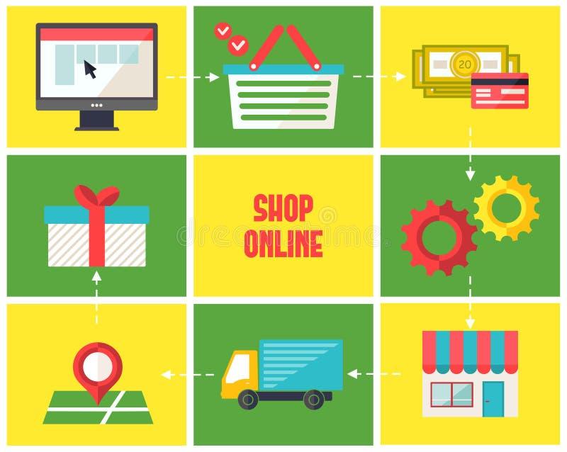 Icônes en ligne d'infographics de boutique réglées illustration stock