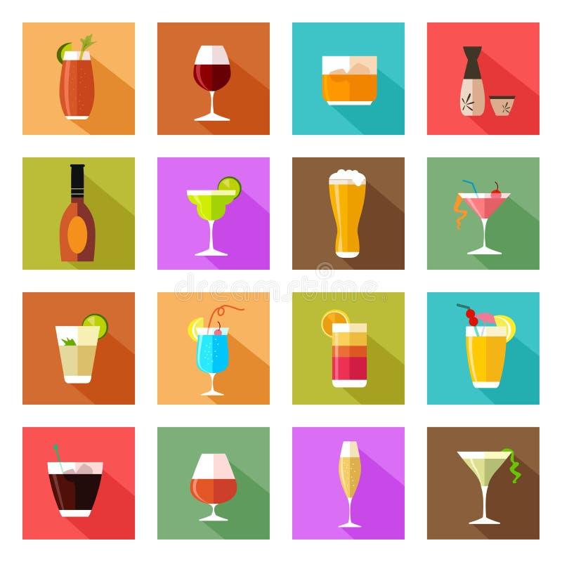 Icônes en verre de boissons d'alcool illustration libre de droits
