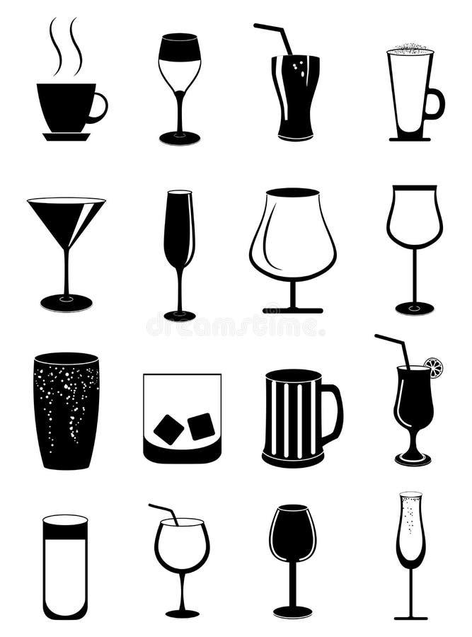 Icônes en verre de boissons réglées illustration libre de droits