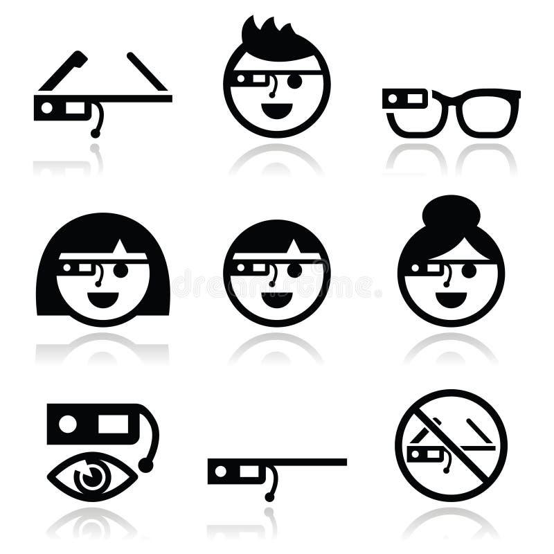 Icônes en verre de Google réglées illustration libre de droits