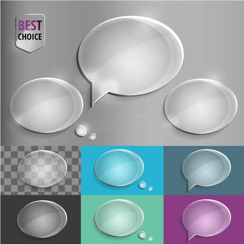 Icônes en verre ovales de bulle de la parole avec l'ombre molle sur le fond de gradient Illustration de vecteur ENV 10 pour le We photographie stock