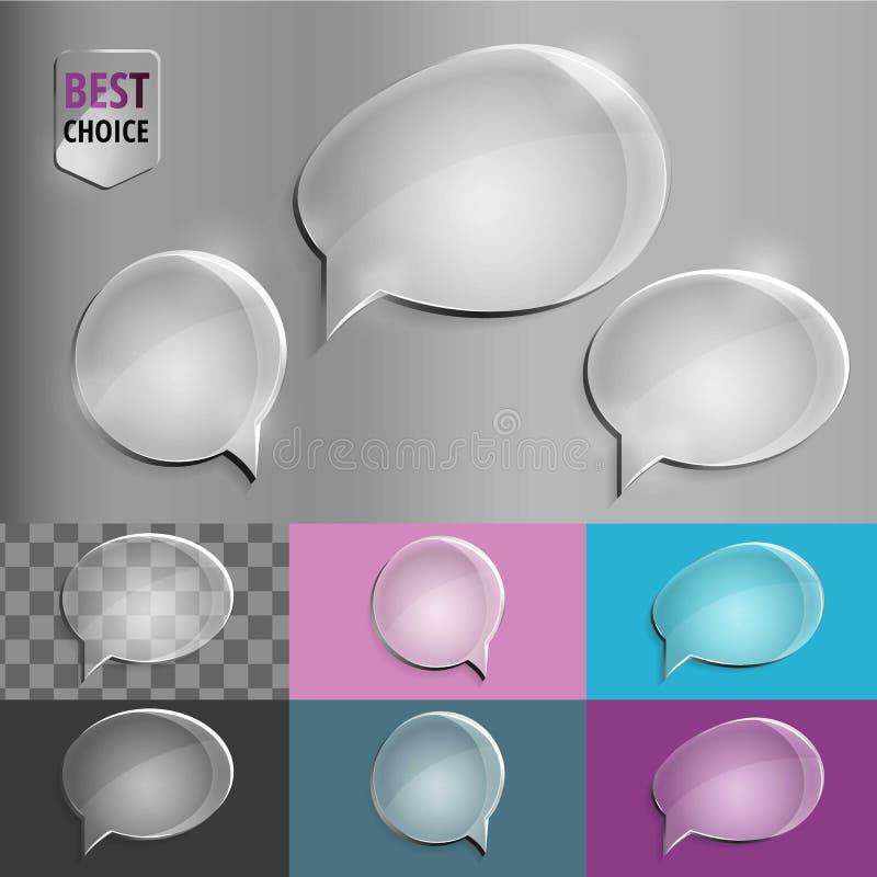 Icônes en verre ovales et rondes de bulle de la parole avec l'ombre molle sur le fond de gradient Illustration de vecteur ENV 10  image stock