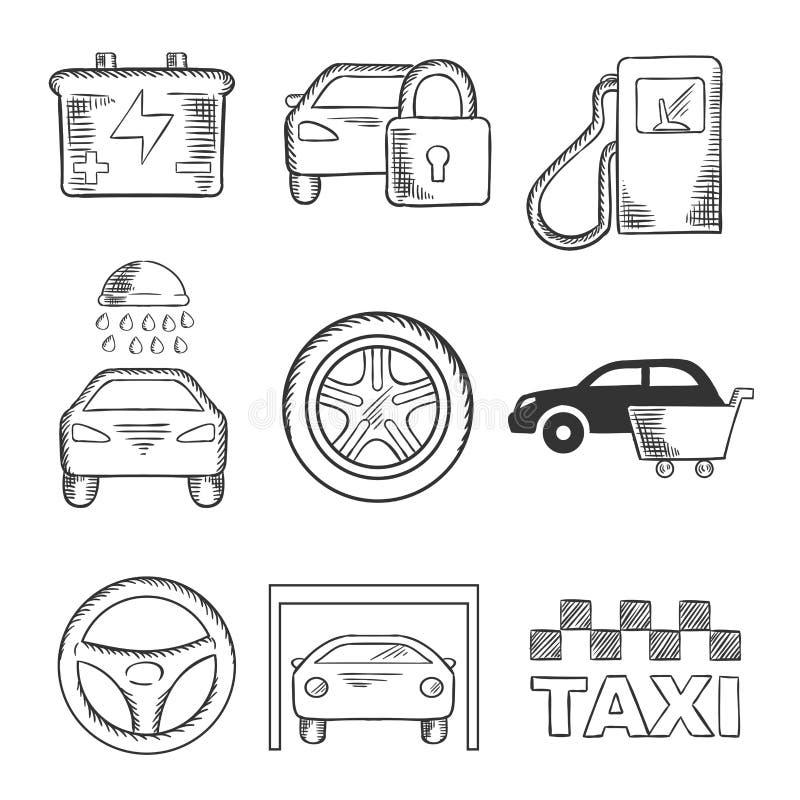 Icônes esquissées de service et de transport de voiture illustration libre de droits