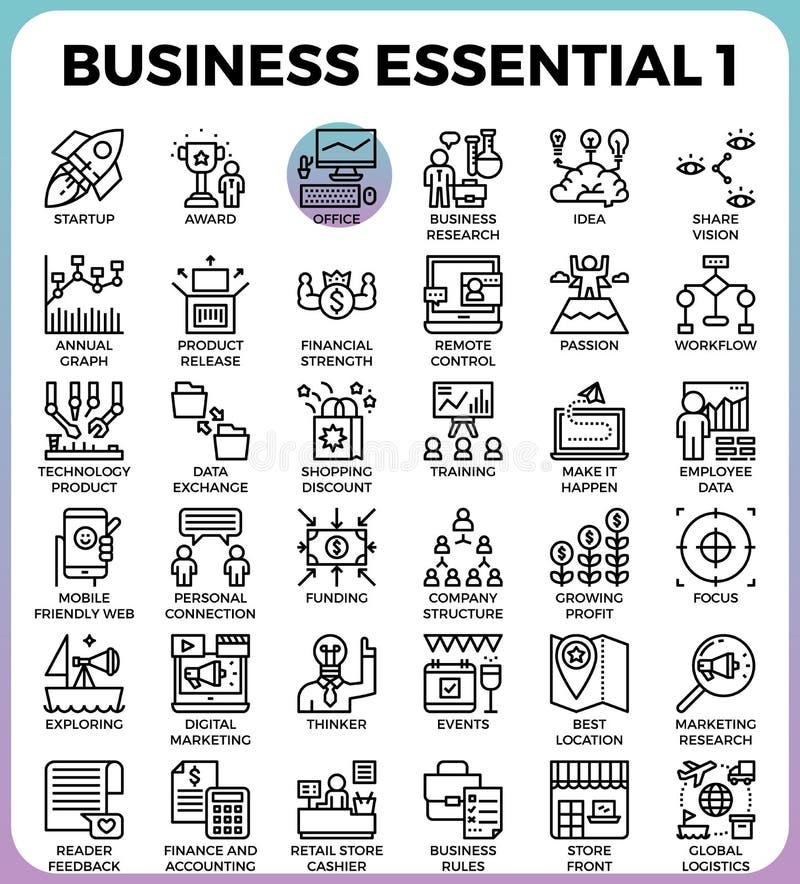 Icônes essentielles d'affaires illustration stock