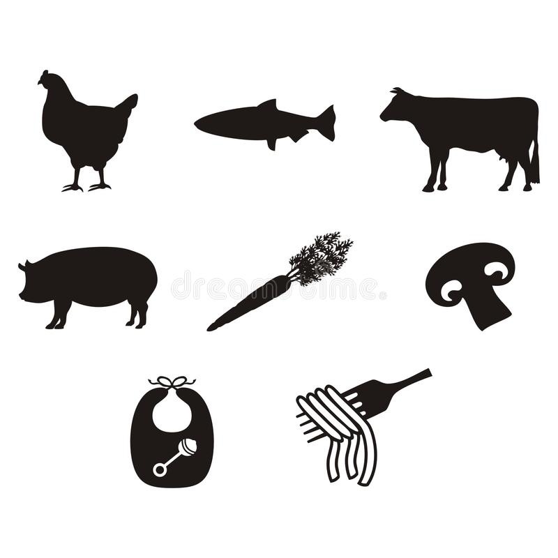 Icônes et symboles de repas de menu de mariage pour des mariages photographie stock