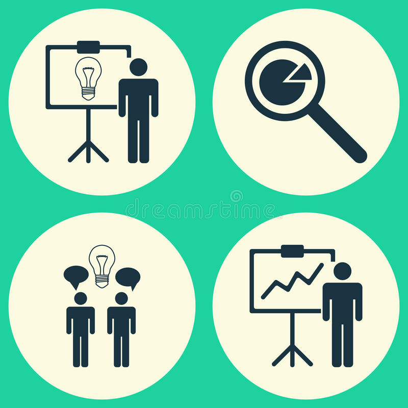 Icônes exécutives réglées Collection d'analyse de projet, de Co-travail, de démonstration de solution et d'autres éléments aussi illustration de vecteur