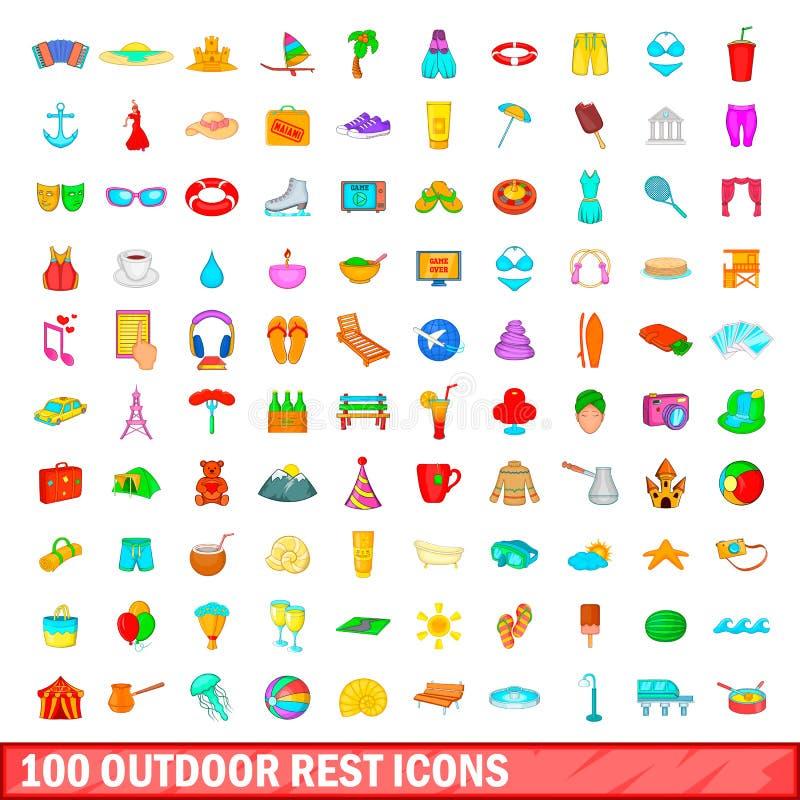 100 icônes extérieures de repos réglées, style de bande dessinée illustration libre de droits