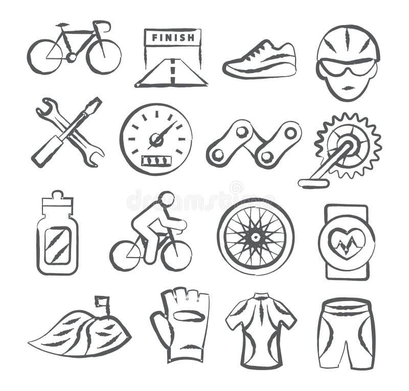 Icônes faisantes du vélo de griffonnage illustration de vecteur