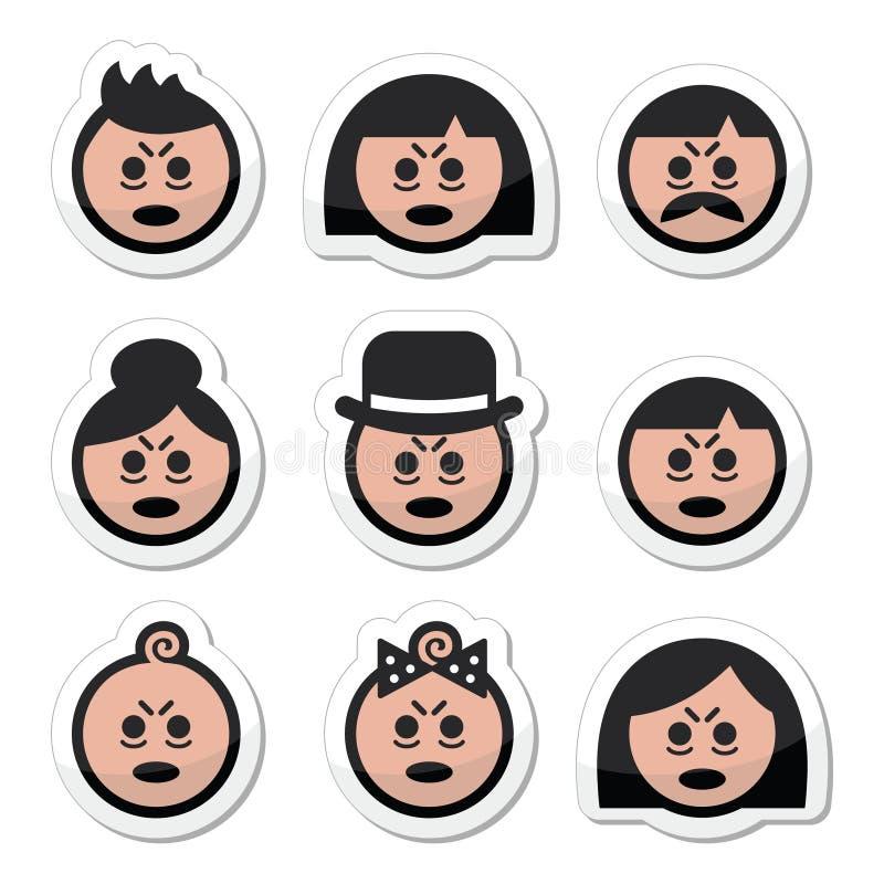 Icônes fatiguées ou en difficulté de visages de personnes réglées illustration de vecteur