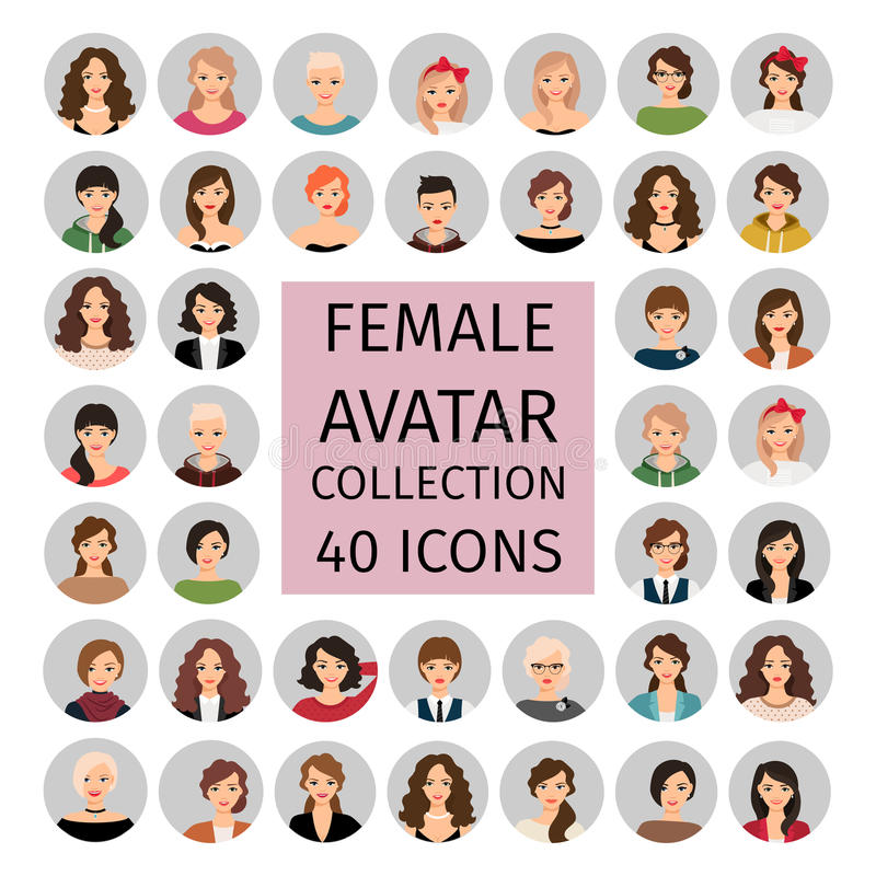 Icônes femelles de collection d'avatar réglées illustration libre de droits