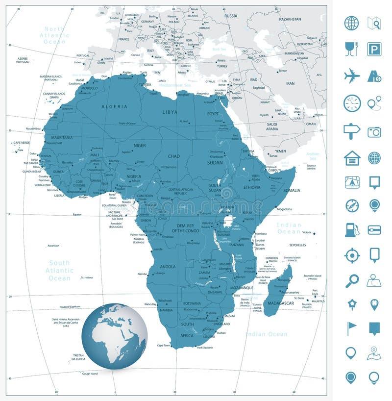 Icônes fortement détaillées de carte et de navigation de l'Afrique Illustra de vecteur illustration stock
