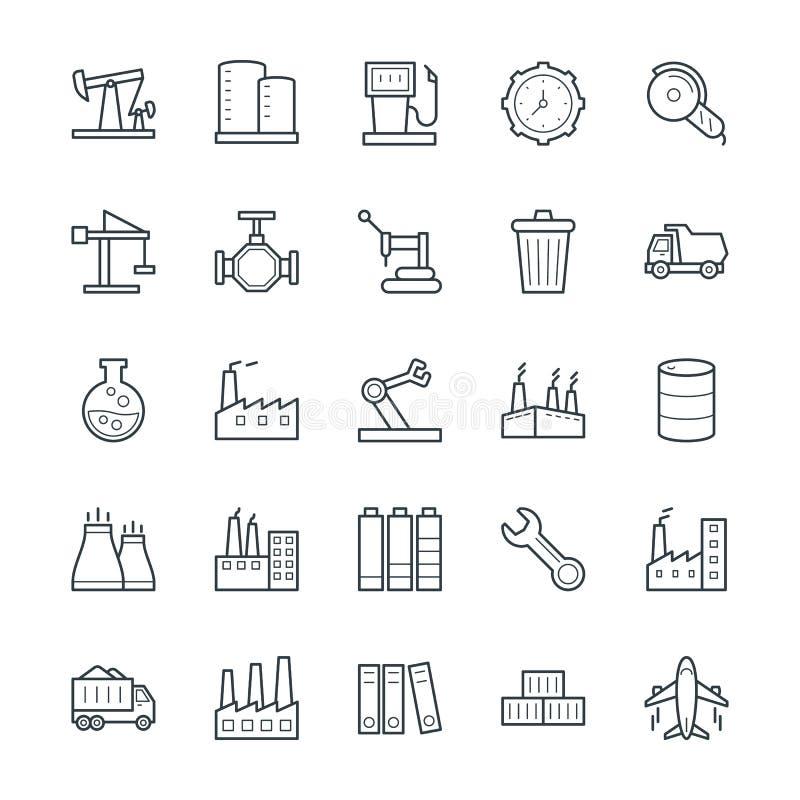 Icônes fraîches industrielles 3 de vecteur illustration stock