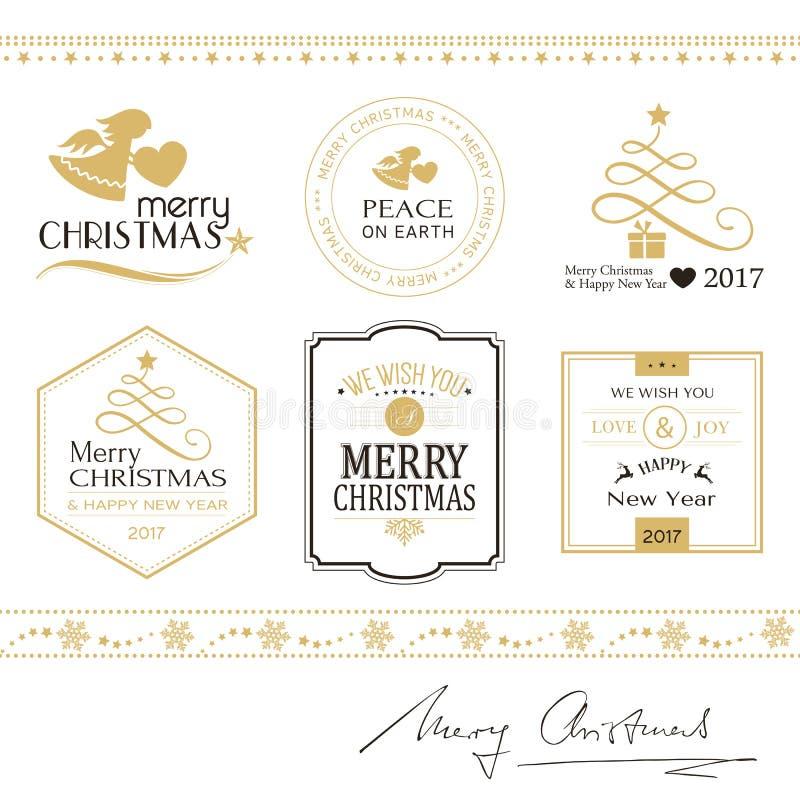 Icônes, frontières d'isolement sur le blanc en or et noir de Joyeux Noël illustration de vecteur
