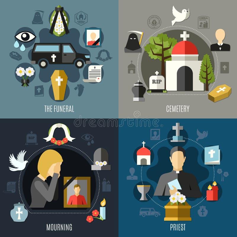 Icônes funèbres de concept réglées illustration libre de droits