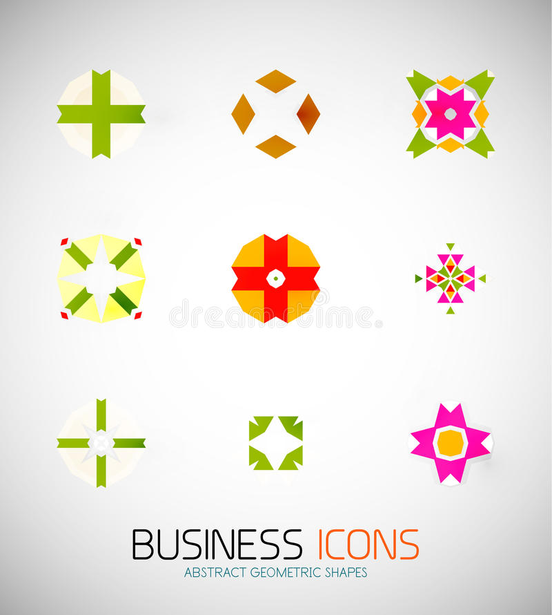 Icônes géométriques abstraites modernes d'affaires. Ensemble d'icône illustration stock