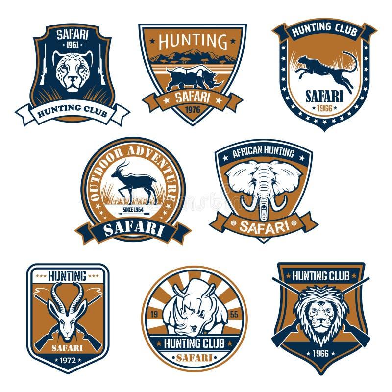 Icônes héraldiques des animaux sauvages de safari illustration de vecteur