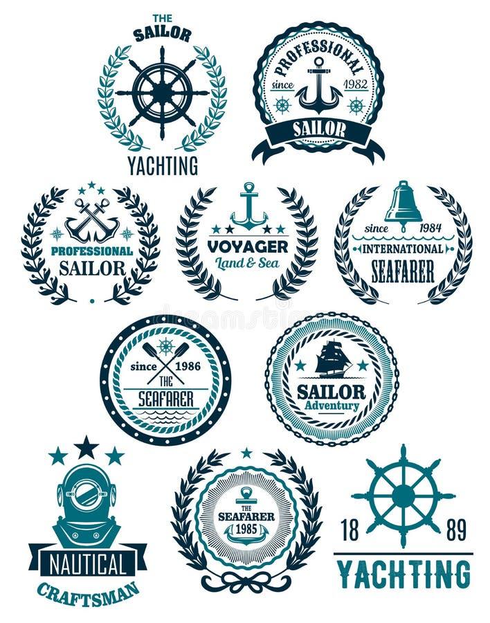 Icônes héraldiques marines nautiques de vecteur pour la plaisance illustration libre de droits