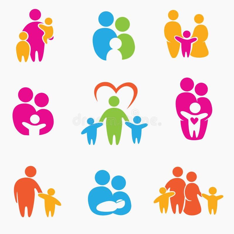 Icônes heureuses de famille illustration stock