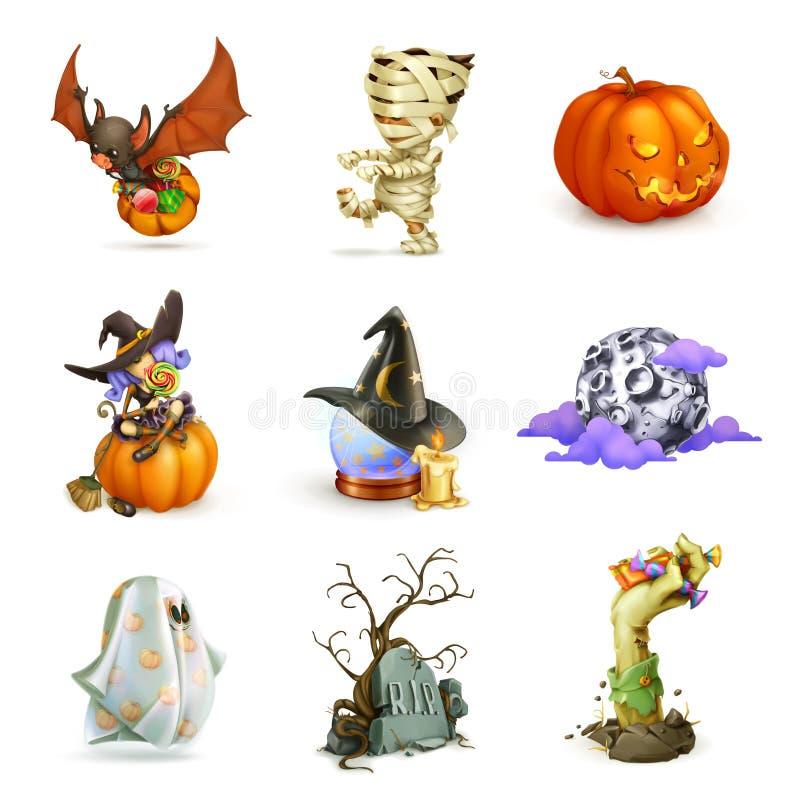 Icônes heureuses de vecteur de Halloween illustration de vecteur