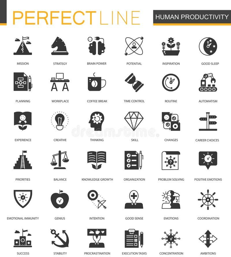 Icônes humaines classiques noires de Web de productivité réglées illustration stock