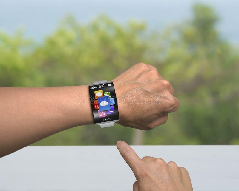 Icônes humaines du point APP de doigt de smartwatch avec l'interface coudée photographie stock