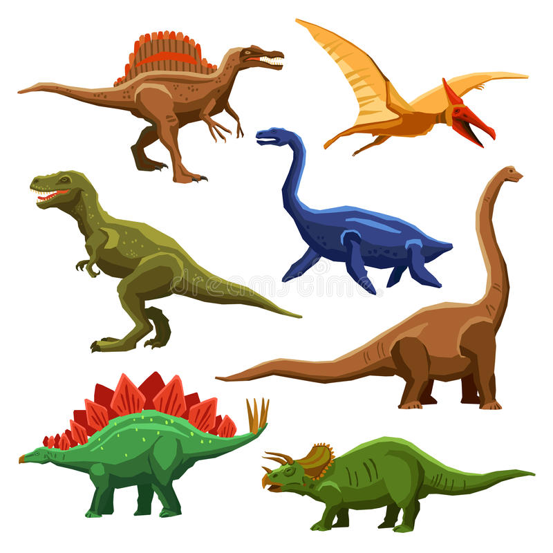 Icônes Iet de couleur de dinosaures illustration libre de droits
