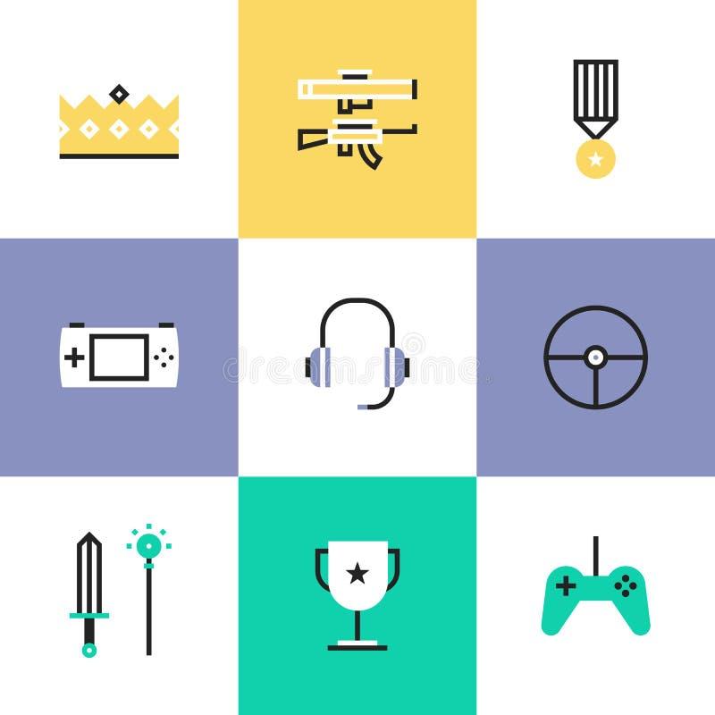 Icônes indépendantes de pictogramme d'éléments de jeu réglées illustration de vecteur