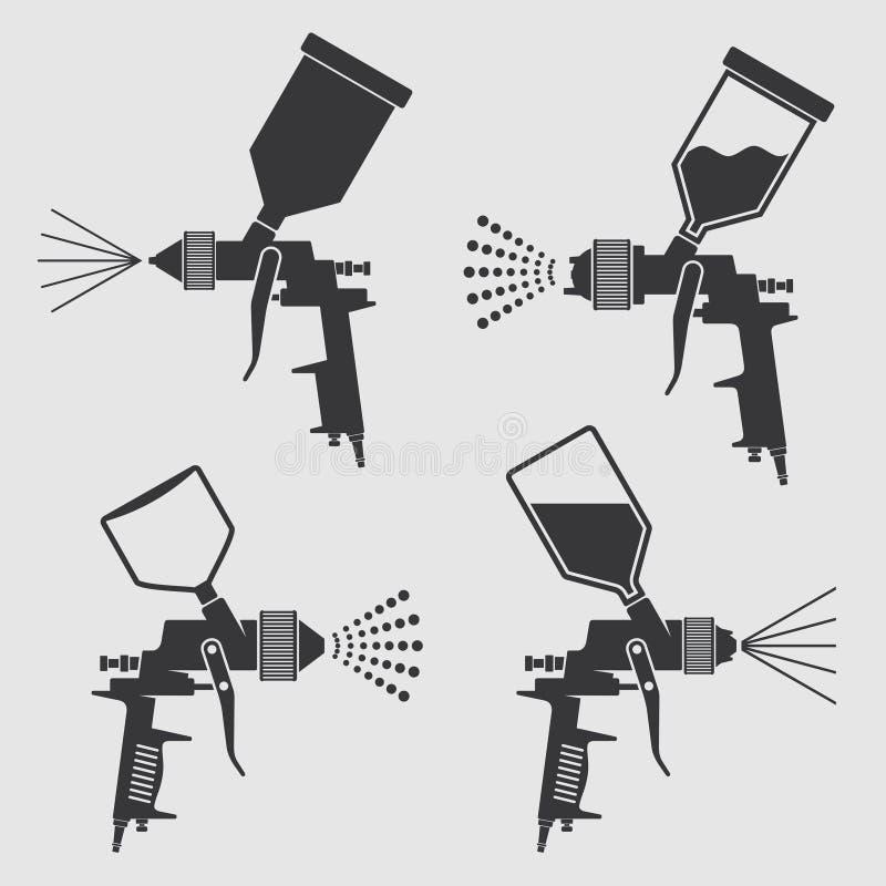 Icônes industrielles de vecteur de pistolet de pulvérisation de peinture de corps automatique illustration libre de droits