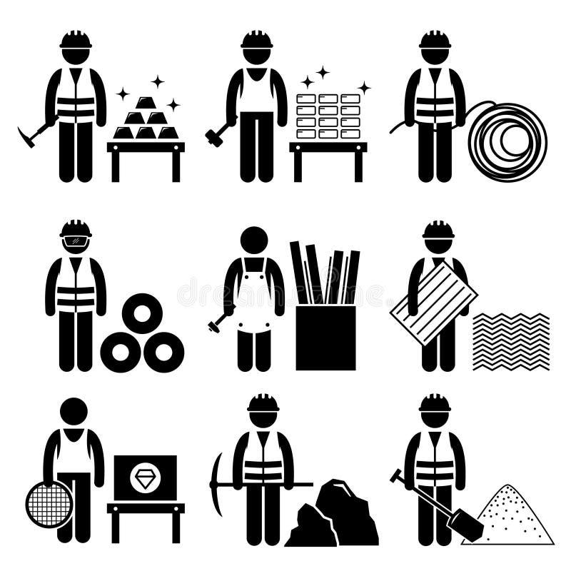 Icônes industrielles précieuses en métal des produits illustration libre de droits