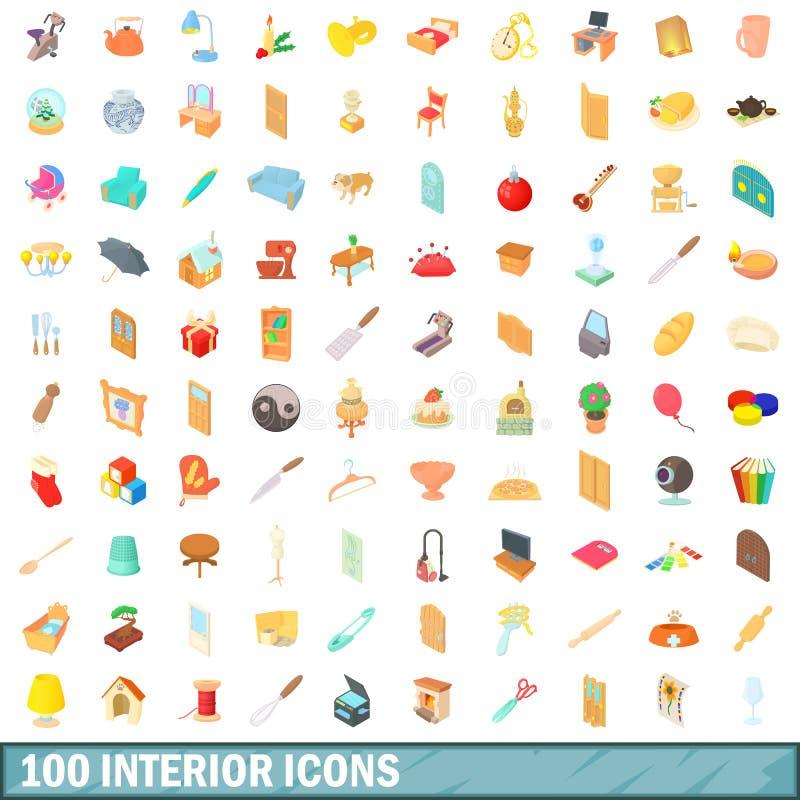 100 icônes intérieures réglées, style de bande dessinée illustration stock
