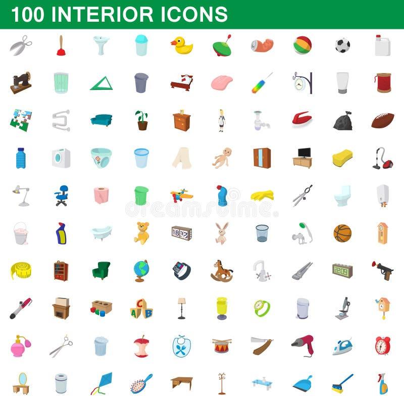 100 icônes intérieures réglées, style de bande dessinée illustration de vecteur