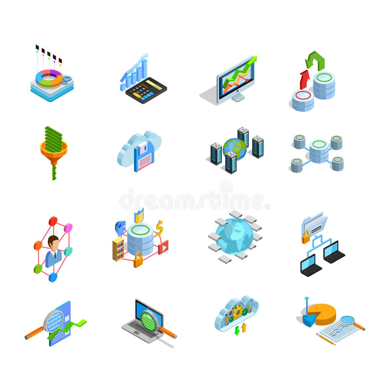 Icônes isométriques d'éléments d'analyses de données réglées illustration stock