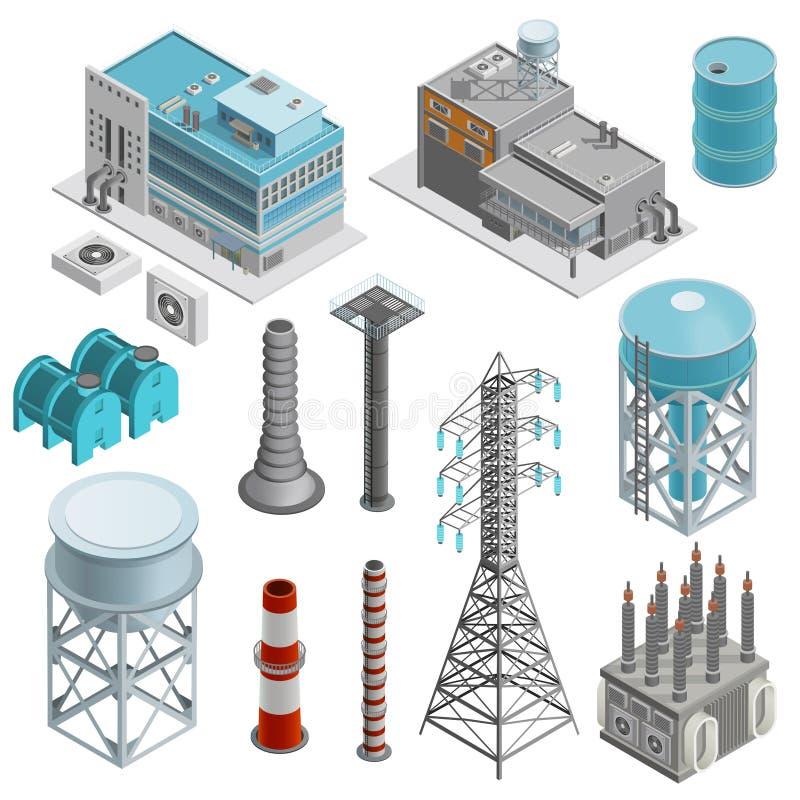 Icônes isométriques de bâtiments industriels réglées illustration stock