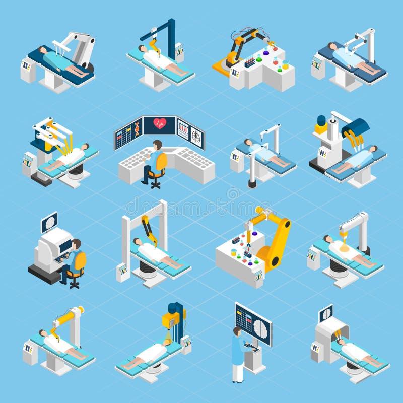 Icônes isométriques de chirurgie robotique réglées illustration libre de droits