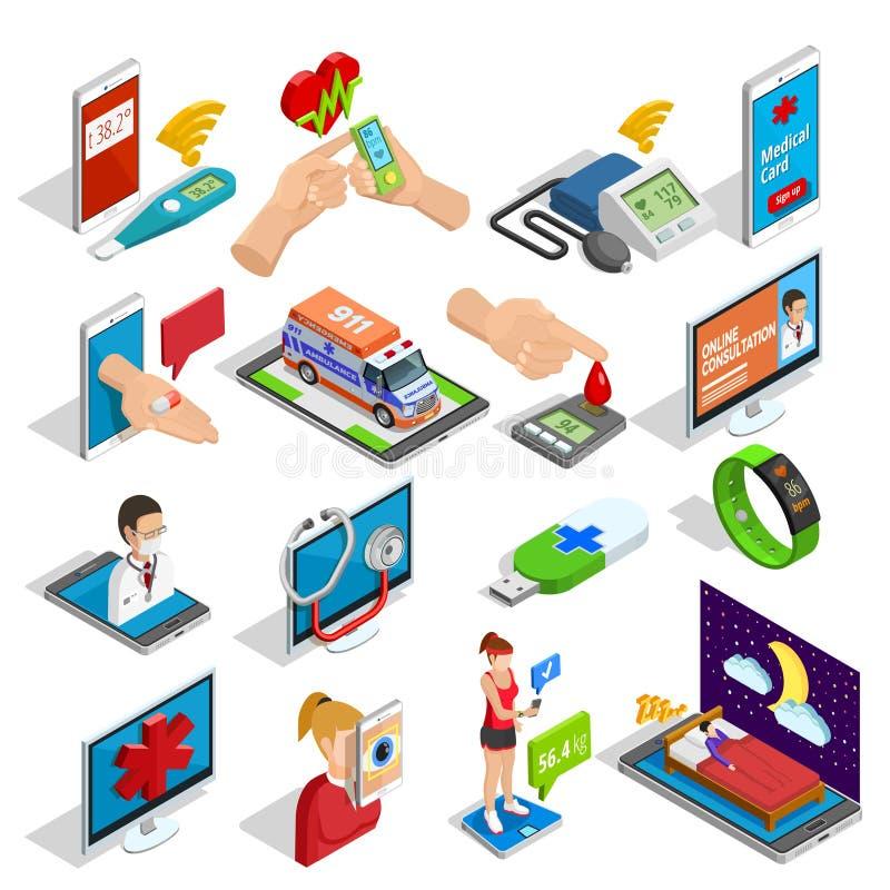 Icônes isométriques de médecine de Digital réglées illustration stock