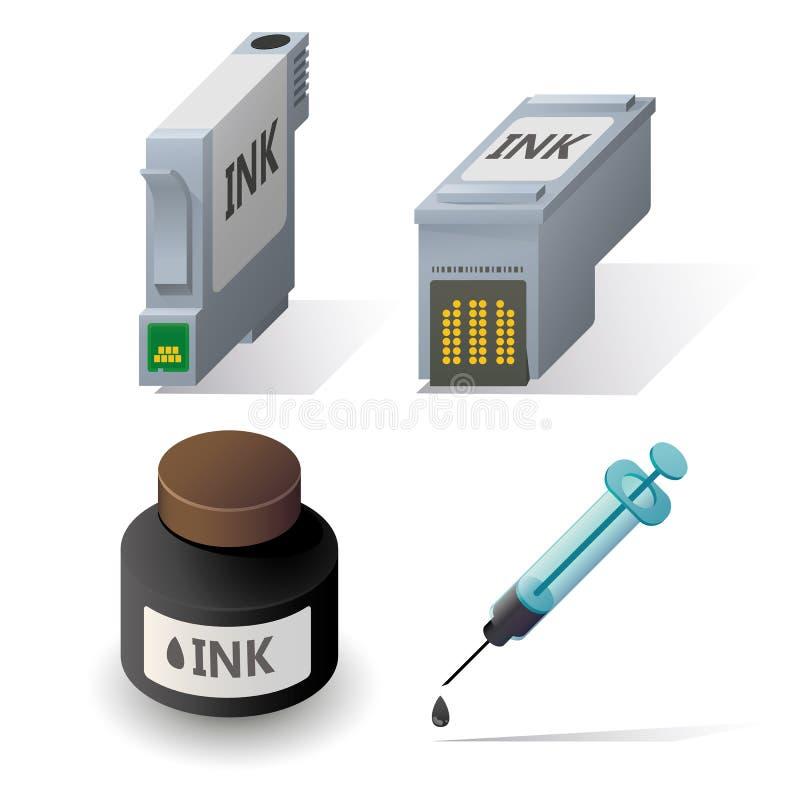 Icônes isométriques de recharge de cartouches d'encre réglées illustration libre de droits