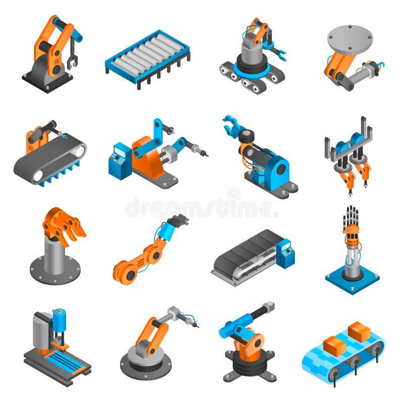 Icônes isométriques de robot d'Industial illustration de vecteur