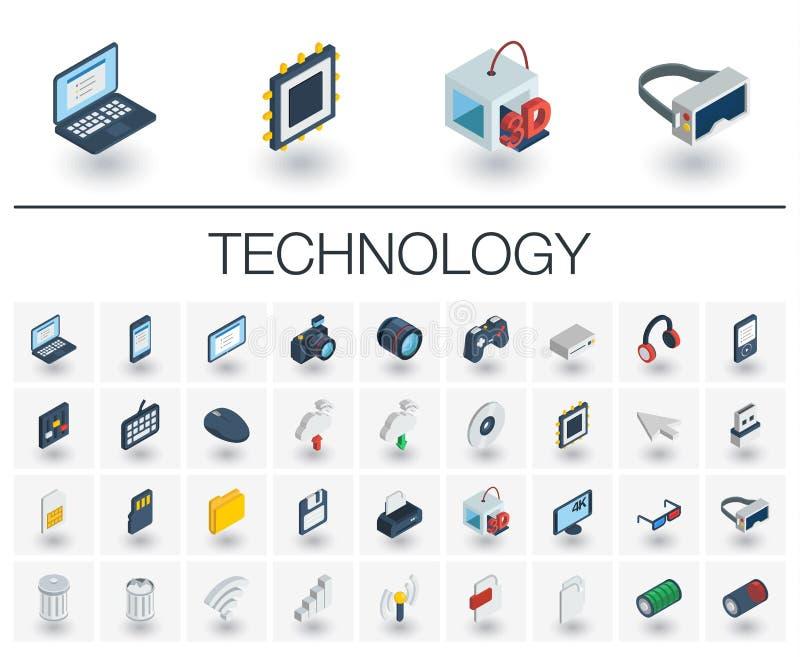 Icônes isométriques de technologie numérique vecteur 3d illustration libre de droits