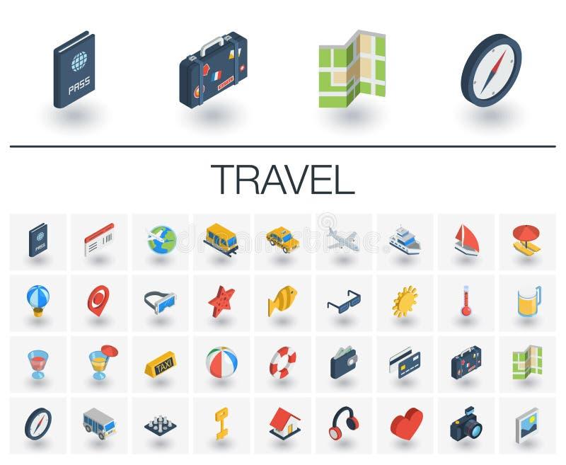 Icônes isométriques de voyage et de tourisme vecteur 3d illustration stock